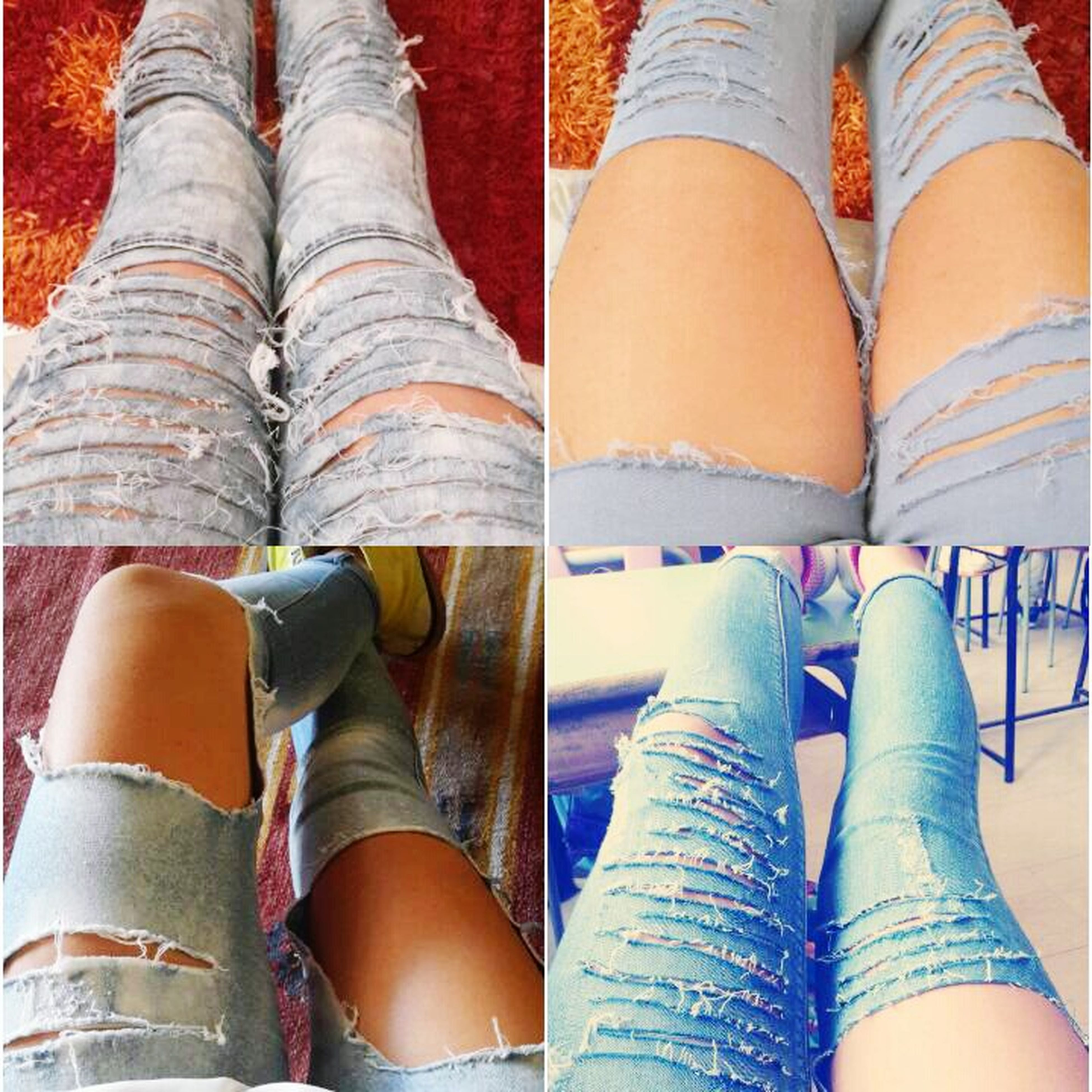 person, low section, shoe, personal perspective, fashion, lifestyles, human foot, standing, side by side, indoors, multi colored, in a row, jeans, close-up, sitting, choice