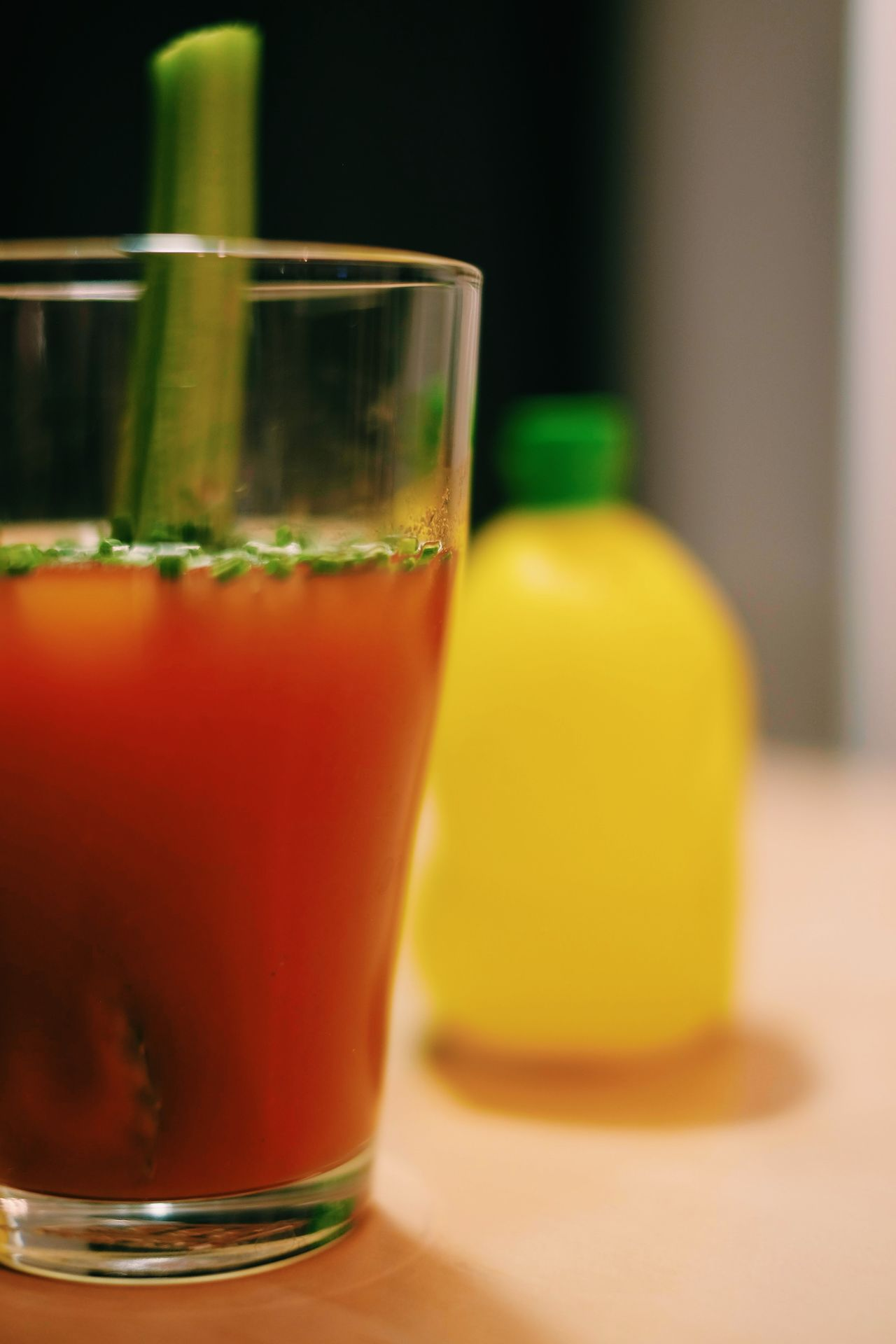 Blended Drink Bloody Mary Close-up Day Drink Drinking Glass Focus On Foreground Food Food And Drink Freshness Fruit Healthy Eating Healthy Lifestyle Indoors  No People Refreshment Yellow