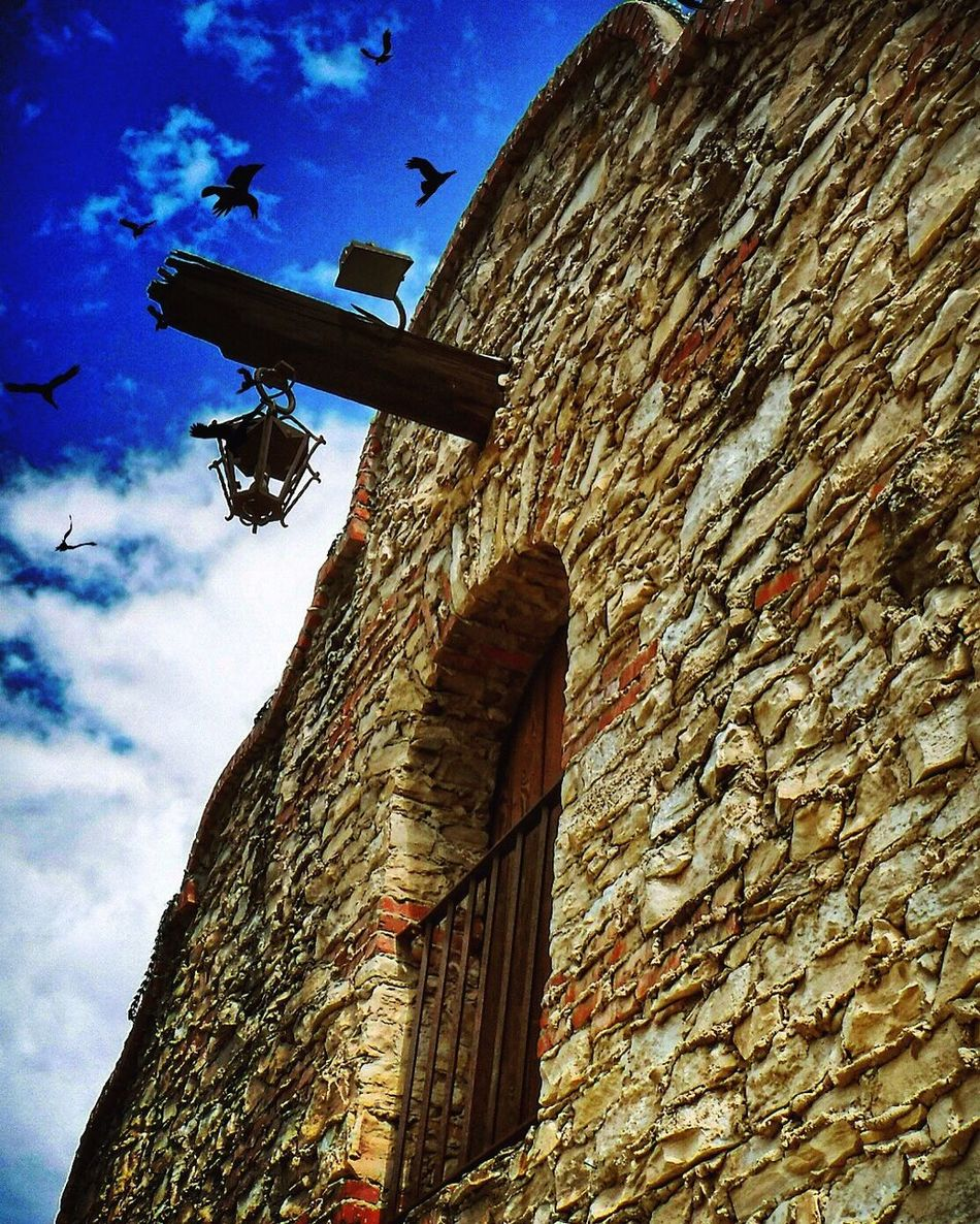 Low Angle View Sky Building Exterior Built Structure Architecture Cloud - Sky No People Outdoors Day Nature Sculpture EyeEmNewHere Dramatic Scenics EyeEm Best Shots Eyeemphotography California Losangeles SoCal Mission Mission Mystery Bird Dramatic Sky Dramatic Angles Brick Wall