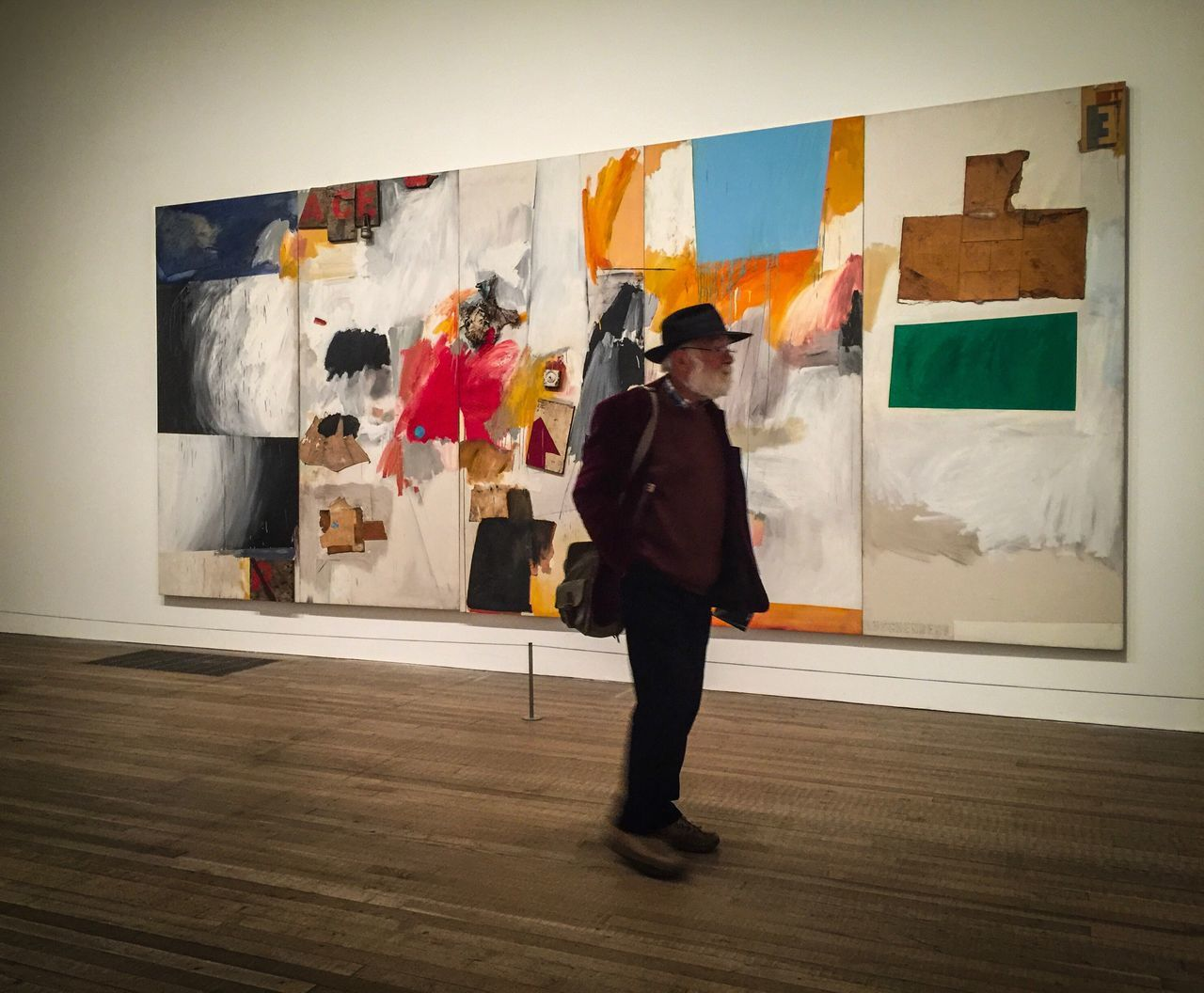 Full Length Painted Image Real People Hanging One Person Indoors  Modern Art Exhibition Architecture One Woman Only Day Adults Only Adult People Young Adult Man Interior Rauschenberg Culture Mixedmedia London London Lifestyle Londonlife TateModern Art