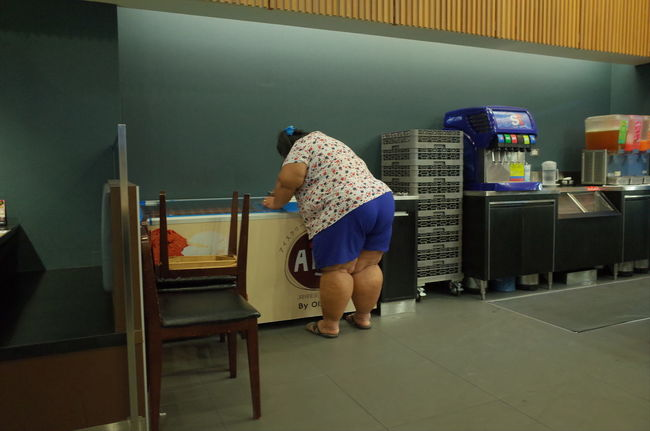 City Life Fat Ice Cream Modern Obese Woman Obesity Overweight Thai Woman Thailand_allshots