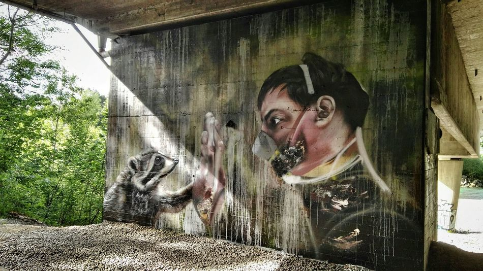 One Person Young Adult Lifestyles Graffiti Mural on Freewall in Bregenz by ALBINO_ONE Seitenblicke Live For The Story 2Hände