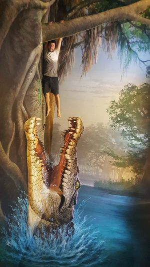 S6photography Mobile Photography Mobilephotography Optical Illusion Thailand 3D Art Museum Chiang Mai | Thailand Art In Paradise Musuem 3-D Art Giant Crocodile Hanging From A Branch