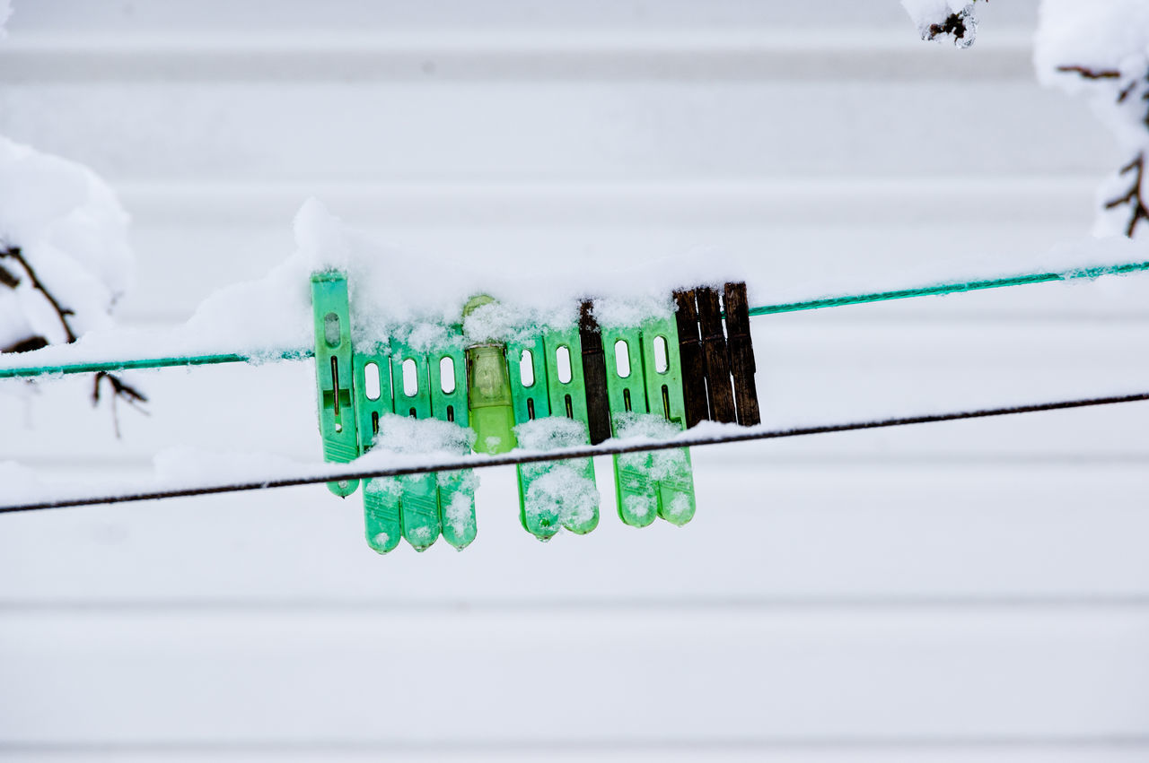 Close-up Clothes Line Clothes Pins Day Green Color Indoors  No People