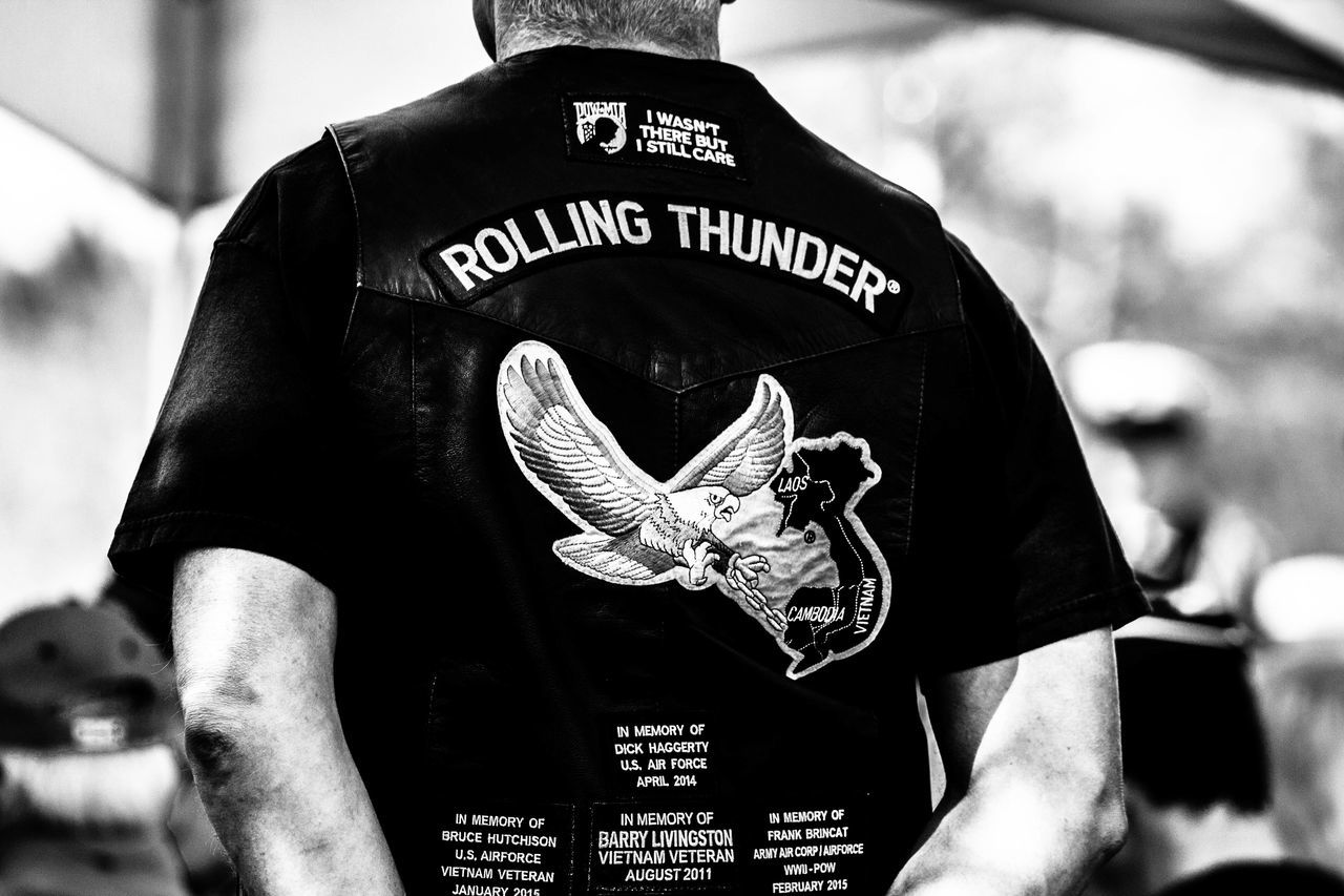 Adult Adults Only Biker Biker Vest Black & White Black And White Blackandwhite Close-up Day Lifestyles One Man Only One Person Outdoors People Real People Rolling Thunder Veteran