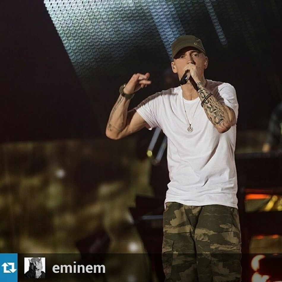 Repost from @eminem with @repostapp — Photos from LA up on Eminem.com Themonstertour The God. ?