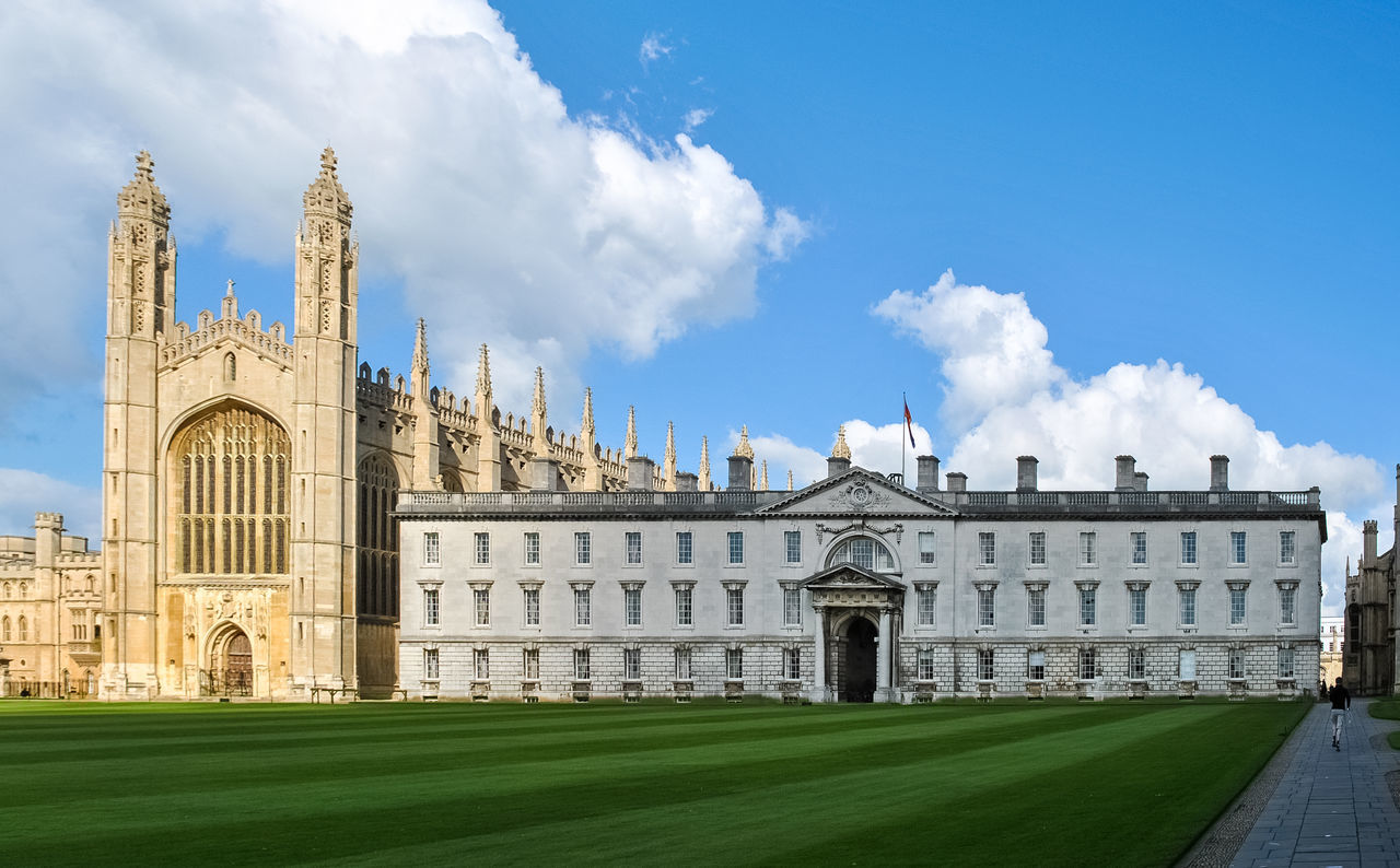 The King's College chapel in Cambridge (UK) Architecture Buildings Cambridge Cambridgeshire Chapel Church City Clouds College England Exterior Field Gothic Great Britain King's College Landmark Lawn Outdoors Outside Sky Sunny Uk United Kingdom University Urban