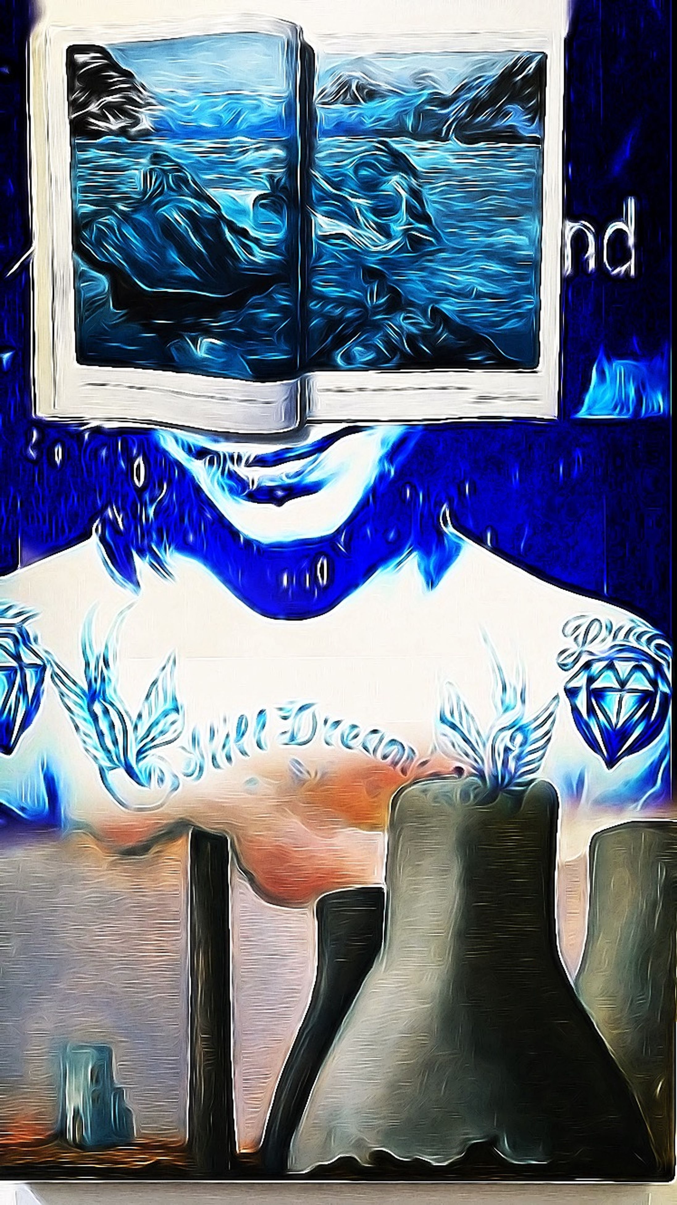 art, graffiti, art and craft, creativity, blue, indoors, text, wall - building feature, animal representation, western script, communication, no people, day, chair, metal, multi colored, close-up, wall, design, wood - material
