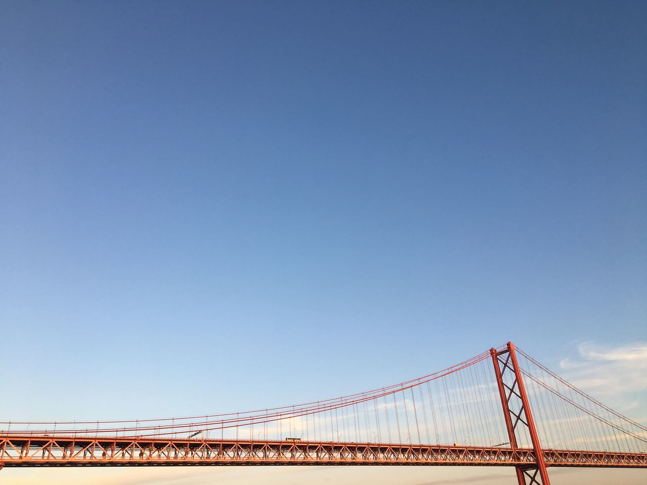 it's incredibly noisy around there Blue Bridge City Clear Sky Copy Space Day Lisbon Lisbonlovers No People Outdoors Ponte 25 De Abril Portugal Simplicity Sky Travel Destinations Travel Photography Travelphotography Unusual Perspective Vacation Time