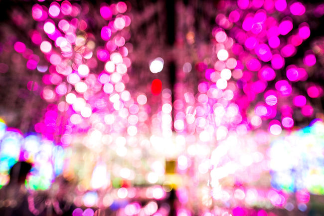 Abstract Backgrounds Blurred Bright Circle City Life Colorful Defocused Extreme Close-up Full Frame Glowing Illuminated Image Focus Technique Lens Flare Light - Natural Phenomenon Lighting Equipment Multi Colored Night Outdoors Pink Color Selective Focus Soft Focus