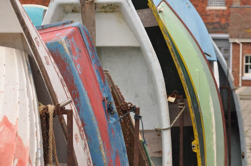 Portsmouth Portsmouth Harbour Portsmouthphotographer United Kingdom Paddle Wooden Paddle Paddle Boats Waiting In Line Faded Color White Green Yellow Rosted Rosted Lock Lock Chain Rosted Chain Rope Briggs Backround No People