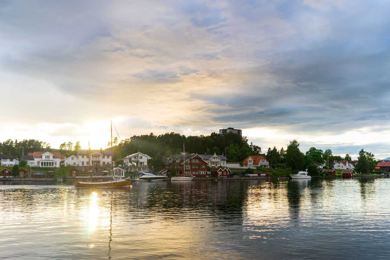 Porsgrunn Architecture Building Exterior Built Structure Cloud - Sky Day Nature Nautical Vessel No People Norway Norway🇳🇴 Outdoors Porsgrunn River Sky Sunset Town Tree Water Waterfront