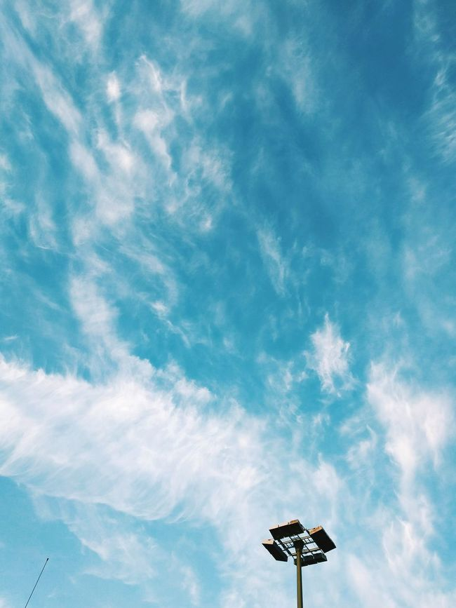 Walking Around Blue Sky Blue Sky And Clouds Lantern Light And Shadow