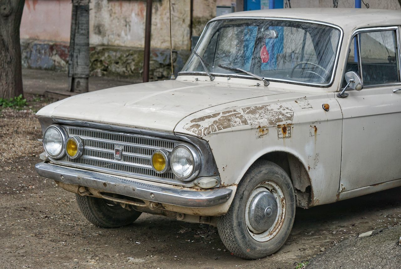 Mode Of Transport Car Transportation Old-fashioned Stationary Outdoors Land Vehicle Russian Auto