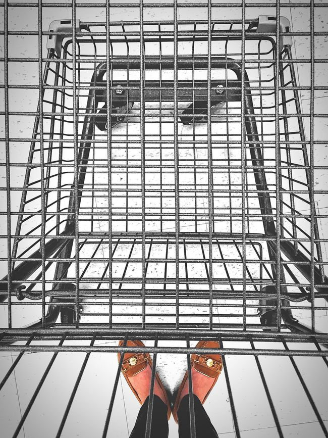 Going food-gathering. Shopping Cart Lines Pattern Cart Lines And Shapes Empty Empty Cart Emptycart Point Of View Pointofview Shoes Feet Grid Metal Loafers Geometric Shapes Metallic Low Angle No People Supermarket Food Carts Foodcart Grocery Cart Shopping Carts Leading Lines