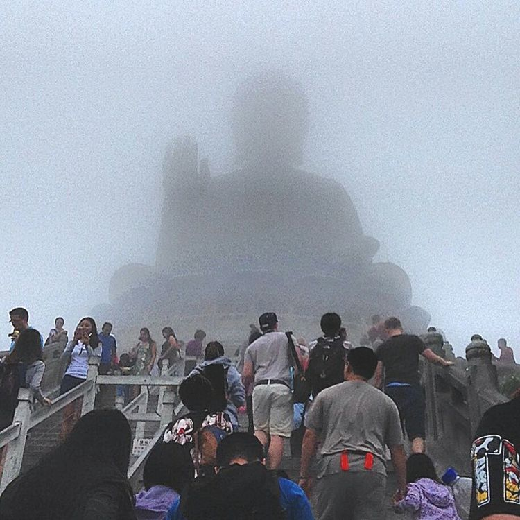 Tian Tan Buddha on a Foggy Day in Hong Kong