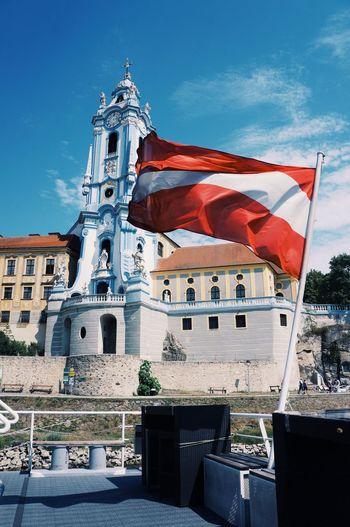Flag Patriotism Sky Architecture Day Built Structure Outdoors No People Cloud - Sky Building Exterior Austria Dürnstein Donau Wachau