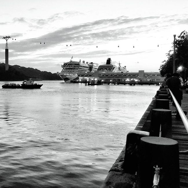 Cable cars, cruise ships, sunset. Sunset Taking Photos Hanging Out Hello World Check This Out Harbour View Harbour Cruise Ship Cruiseship Cruise Dusk Urban Landscape First Eyeem Photo Open Edit Skyporn Sea And Sky Sea Pier Blackandwhite Black And White Black & White Black&white Monochrome EyeEm Gallery EyeEm Best Shots