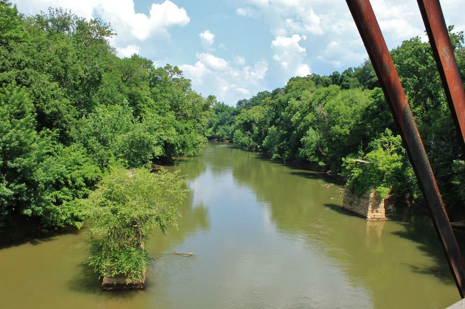 Brick Bridge Clouds Muddy Water Out Of Use  Outdoors Rail Bridge River Rustic Sky Summer Water