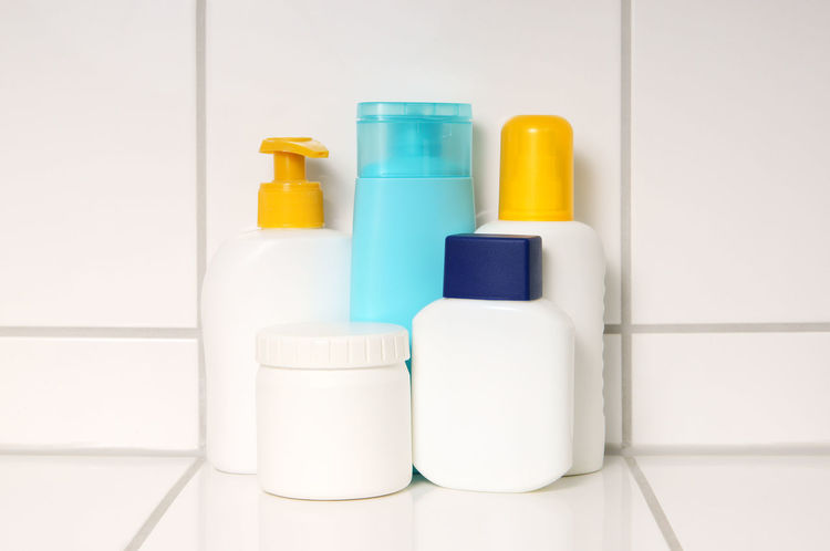 After Shave Bath Bathroom Body Care Bottles Container Hygiene Lotion Lotions Moisturizer Shampoo Spray Still Life