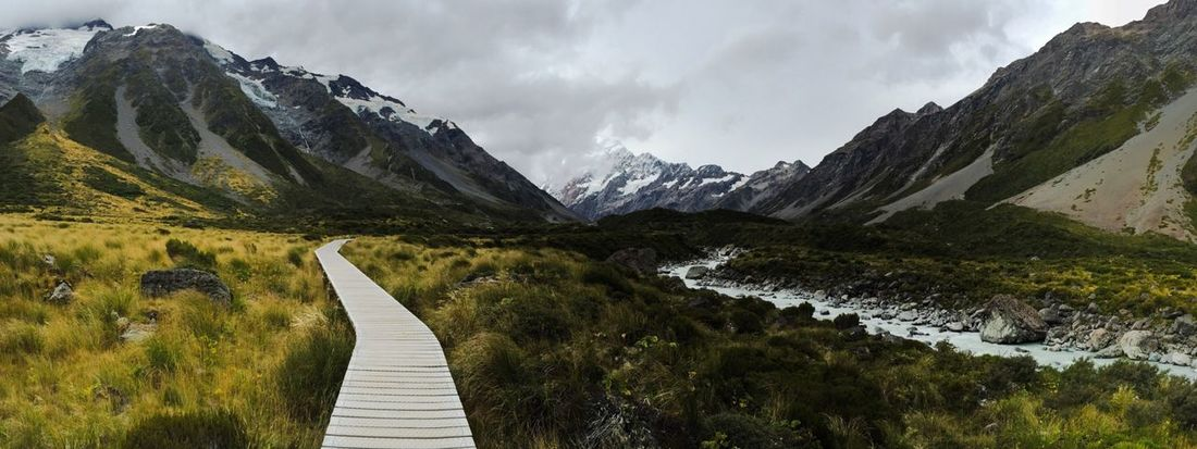 Mountain Scenics Beauty In Nature Nature Tranquility The Way Forward Outdoors No People Tranquil Scene Day Miles Away Landscape Mount Cook New Zealand Panorama EyeEmNewHere Silence Simplicity Hiking Travel Way Mountain Range River Mountains Snow