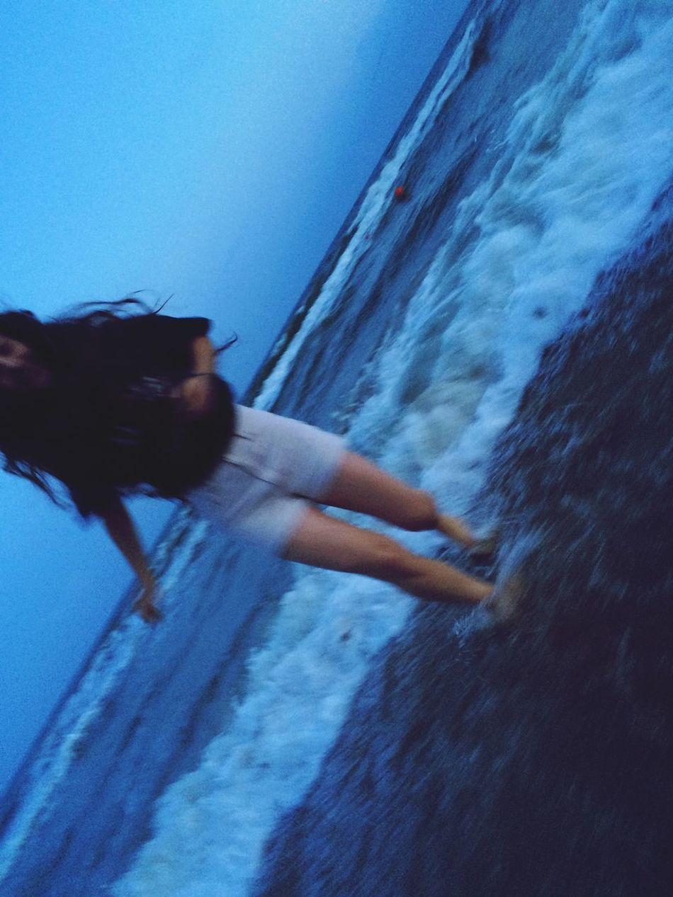 Capturing Motion Pictures One Person Blurred Motion Sea Girl Young Outdoors Day Water Nature Person Real People Motion Sky Close-up Beauty In Nature Young Adult People Adult