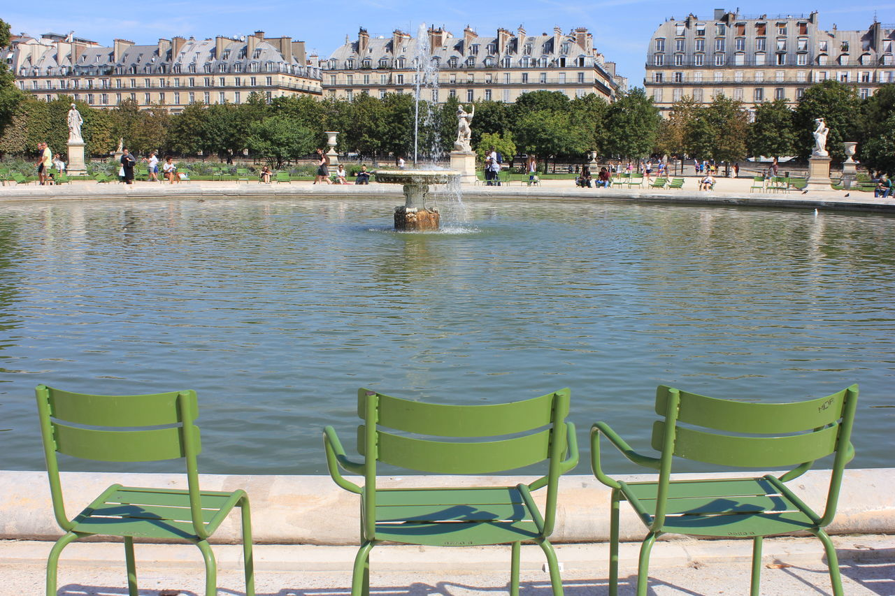 Architecture Building Exterior Built Structure Chairs Chaise Fermob Chaises City Clear Sky Day Fermob Fountain Jardins Du Carrousel Et Des Tuileries No People Outdoors Parc Louvre Sky Travel Destinations Tree Water Adapted To The City