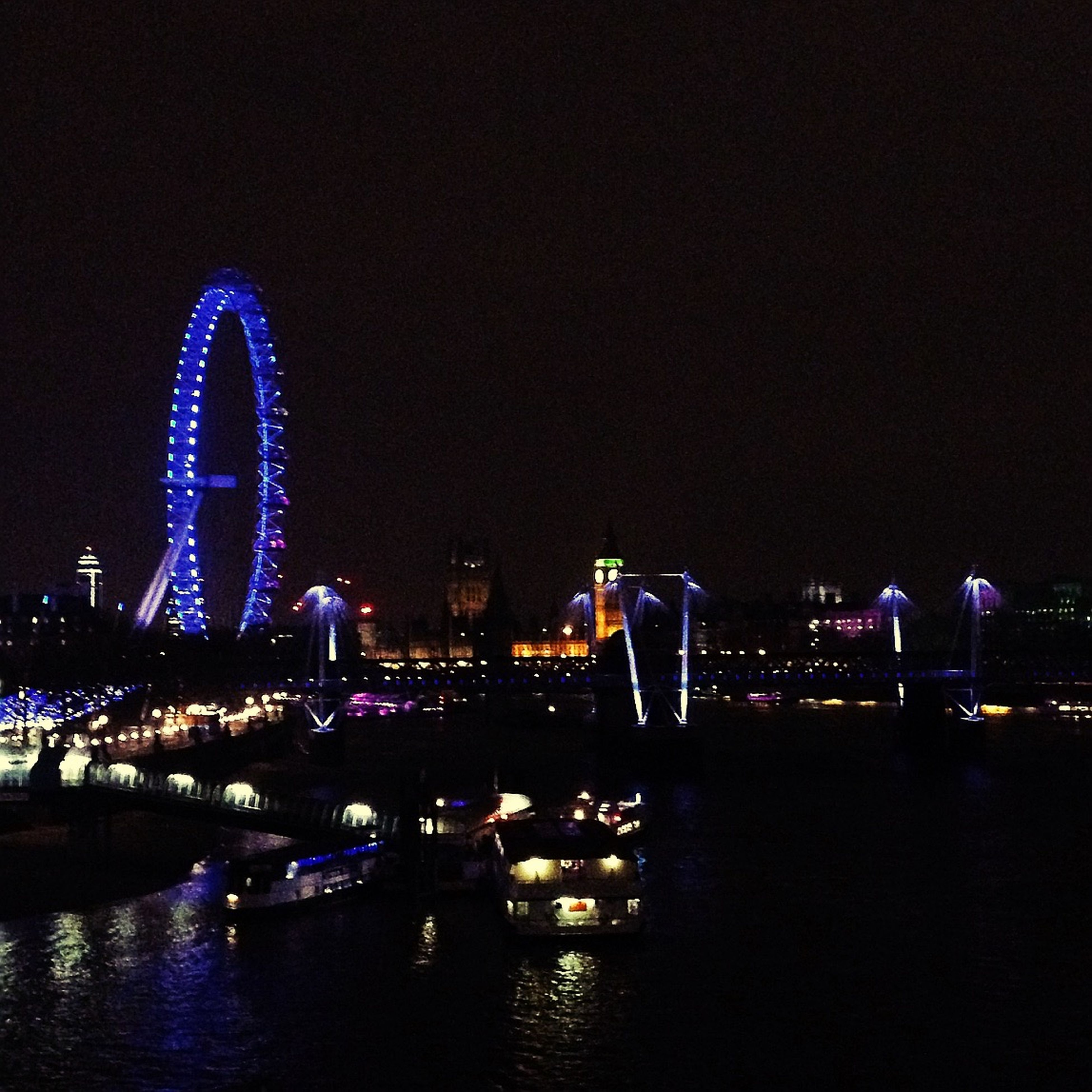 River Thames Nightphotography Night Lights LondonEye Ferris Wheel