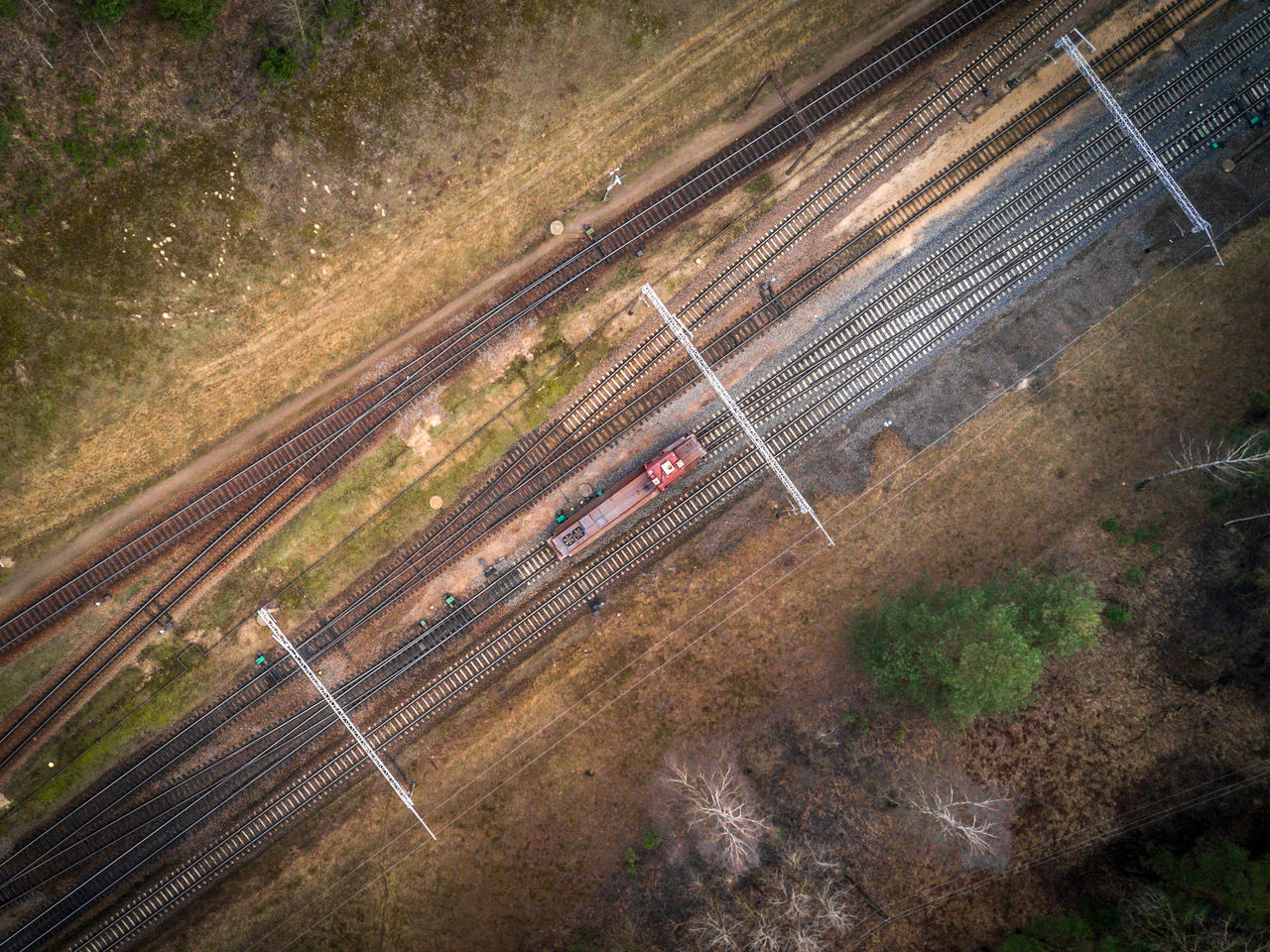 Railway and freight locomotive from above - Dji Mavic Pro drone photo Aerial View Dji DJI Mavic Pro Drone  Dronephotography Droneshot Economy Freight From Above  High Angle View Infrastructure Landscape Locomotive Looking Down Looking Down From Above Mavicpro Railroad Track Railway Railway Track Red Scenics Track Train Transportation Work