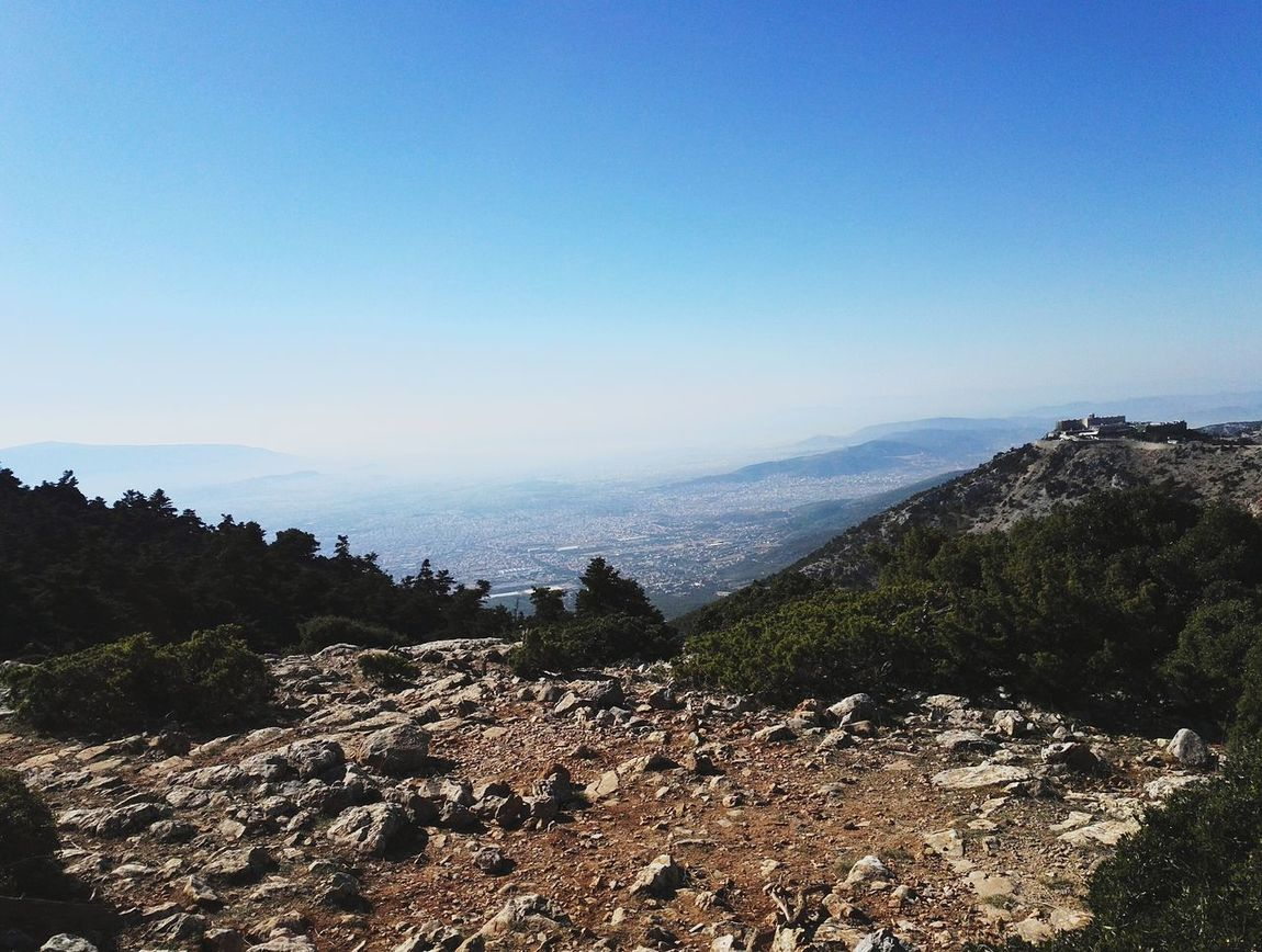 Mountain Landscape Tranquility Nature Mountain Range Beauty In Nature Sky Scenics Day View From Above Athens From Above Parnitha From The Mountain To The Sea Athens, Greece Connecting With Nature Taking Photos ❤ Sunnyday☀️ Athens View Parnitha Mountain Sunday Mountain Day Hikingphotography No People