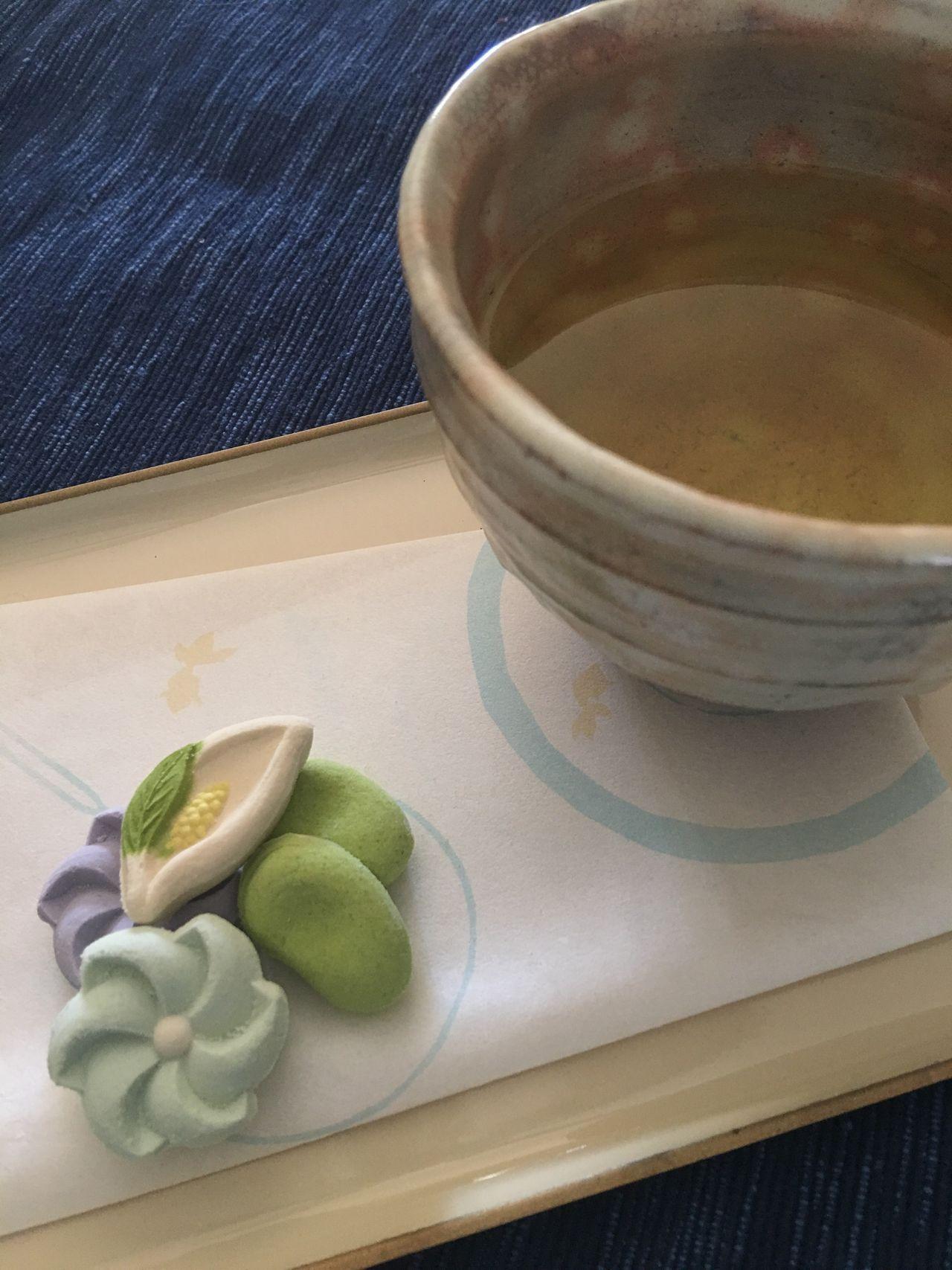 Tea Time Green Tea Wagashi Traditional Japanese Seasonal Sweets Goldfish Confectionery Wasanbon Higashi