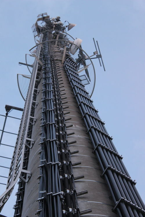 Technology: Radio Antenna Tower with various RF Systems - backbone of our connected world RF Antennas Architecture Communication Day Low Angle View No People Outdoors Radio Communication Sky Technology Tower