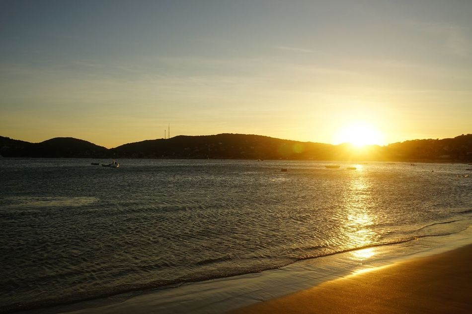Sunset Ocean Ocean View Dramatic Sky Beauty In Nature Buzios Praia Moody Sky Sky Sea Seaview
