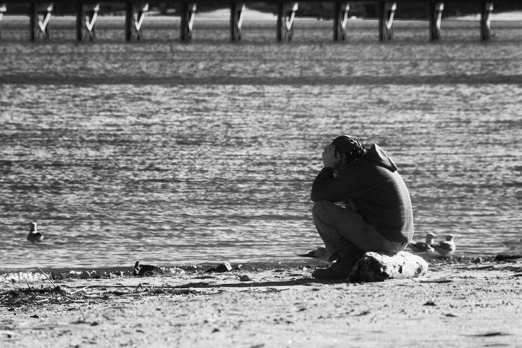 Adult Adults Only Beach Blackandwhite Day Despair Emotion Men Nature Nikon One Person Outdoors People Real People Sitting Water