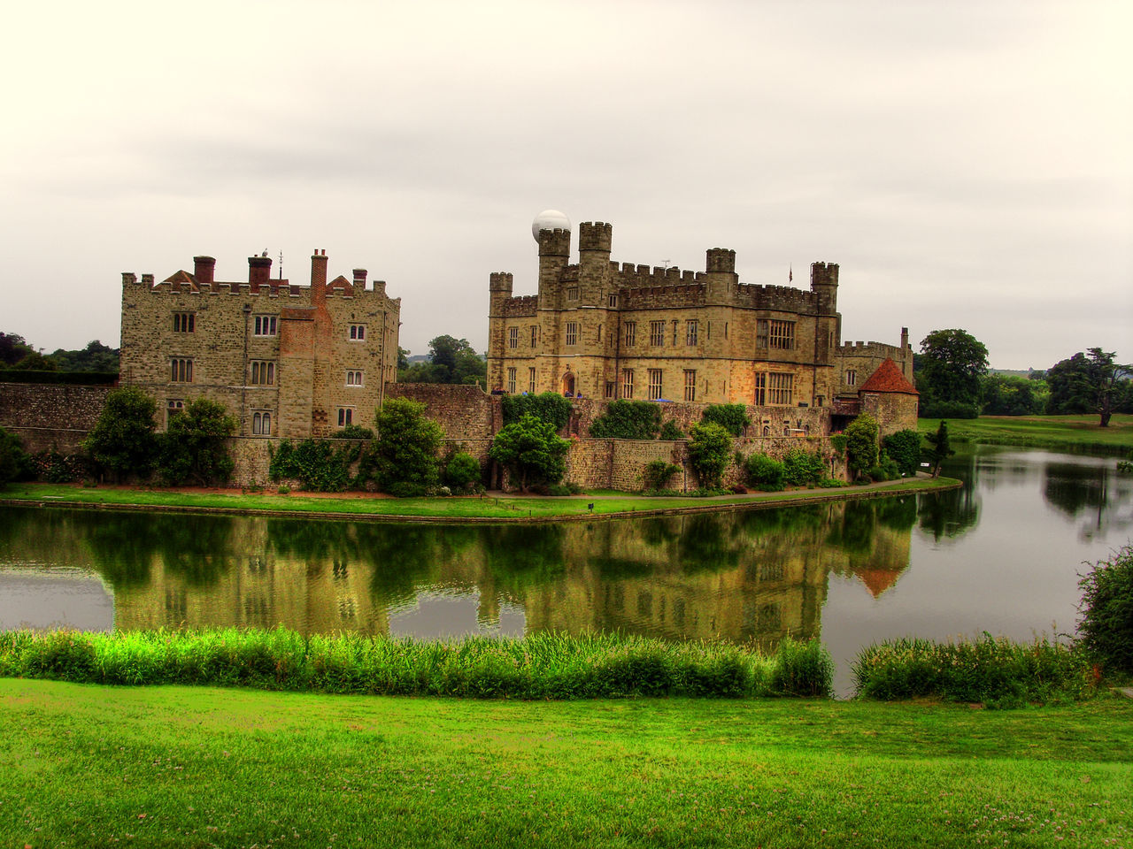 Black & White Castle English HDR Heritage Lake Leeds Castle Map Tone Scenery View