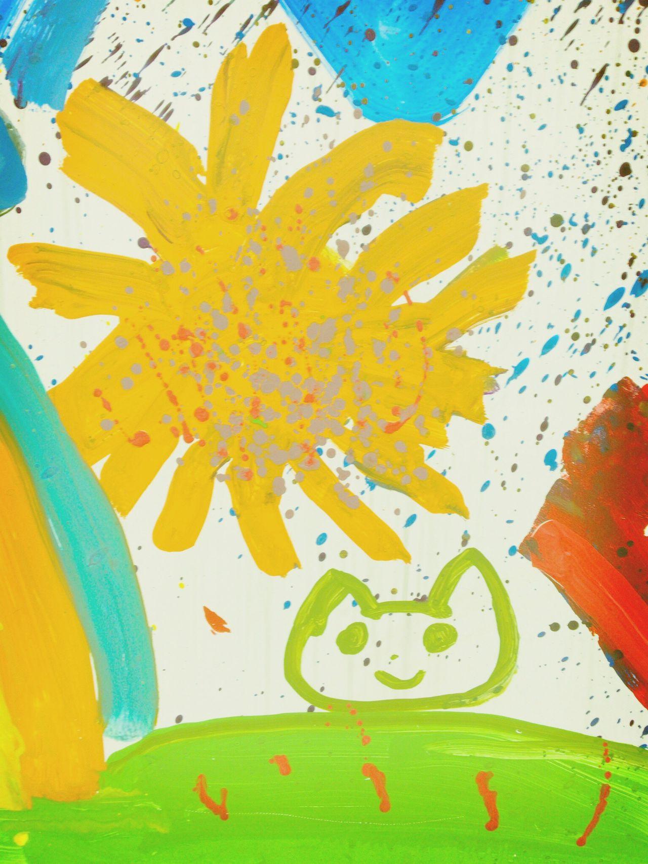 私の母校が80周年を迎えたそうで、駅前の看板にいろいろな絵が描かれていました(*´-`)♬ 明るい、楽しそうな絵で癒されました(╹◡╹)❤︎ Hello World Close-up Tokyo Tokyo Days Art Kids Art Colorful Sun Cat Drow Peace Sunflower