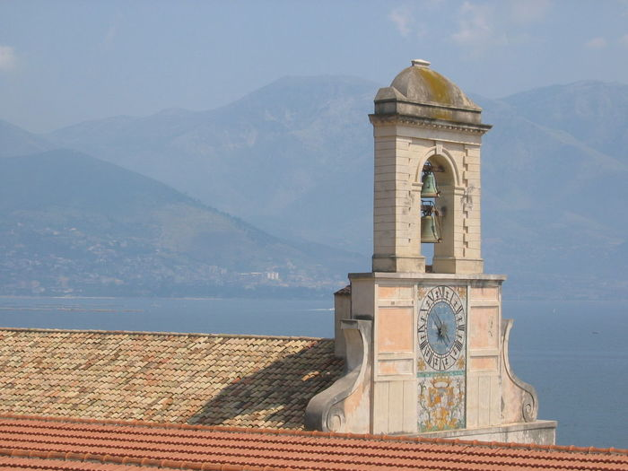 Architecture Church Clock Clock Tower Mountain No People Bell Tower Outdoors Gaeta Italy Blu Sky clear day Sea two bells Painting Clock spring Travel Destinations