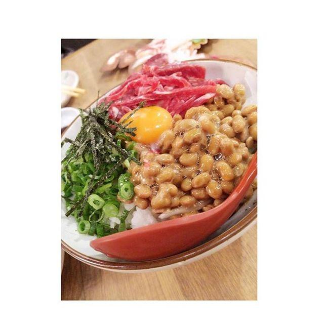 桜納豆丼。馬肉料理 美味しいお店 味しかった