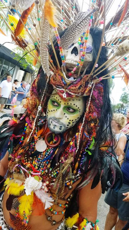 Multi Colored Key West Fantasy Fest Witch Doctor