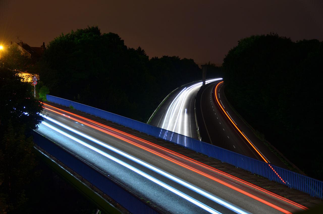 Bridge Illuminated Light Light Painting Light Trail Long Exposure Motion Night Outdoors Outline Road Road Speed