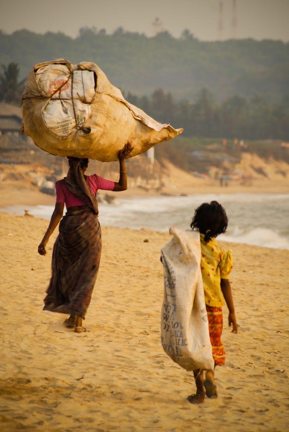 Beautiful stock photos of india, African American Ethnicity, Beach, Burlap Sack, Carrying