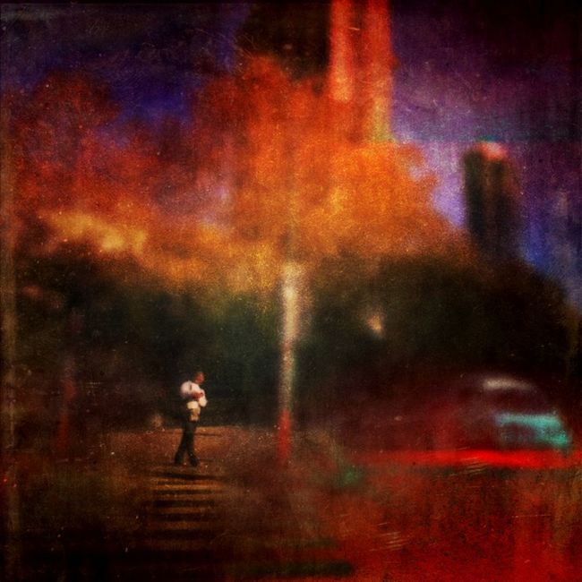 Small Scenes Of Life Red Danger Waiting Red Light Traffic Alone City Man
