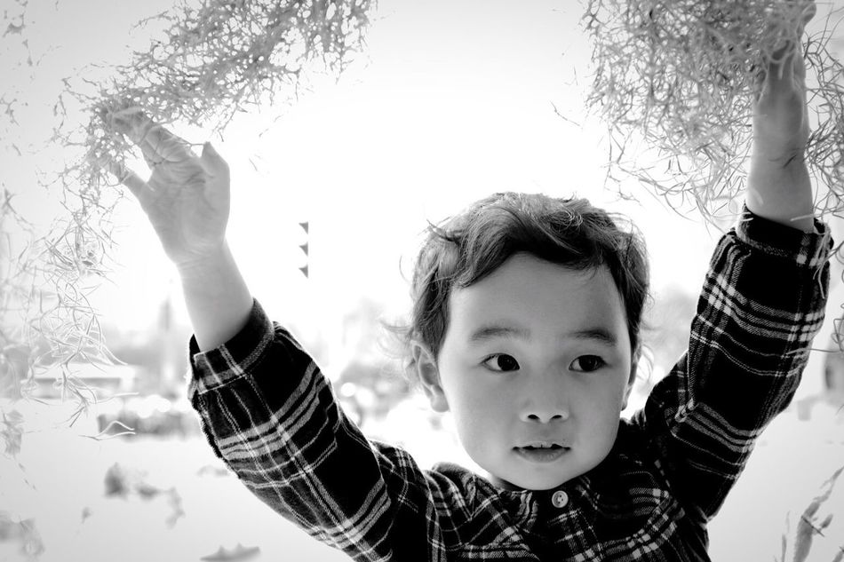 Peoplephotography Arms Raised Childhood Human Arm Looking At Camera Portrait Human Body Part Child One Person Boys Real People Headshot Day Indoors  Children Only Close-up Human Hand People Sky Adult People Photography EyeEmNewHere Black And White Black & White Blackandwhite Photography