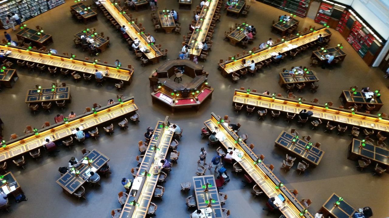 High Angle View Library Library View Librarylife National Library Many People Studying Top View Lines And Circle Flying High
