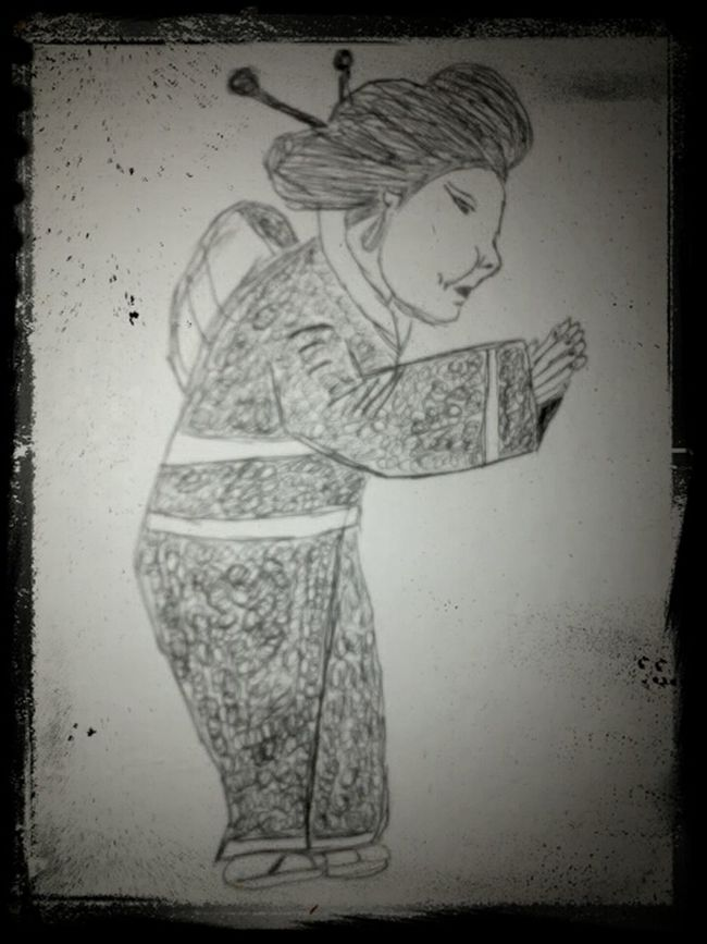 welcome to japan Japanese Kimono Pencil Drawing Folk
