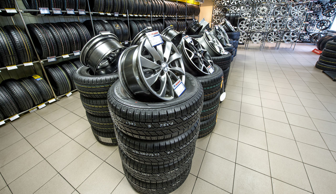 Tyres Architecture Car Service Cars Day Indoors  Industry Moscow No People Russia Stack Trade Transport Wheels