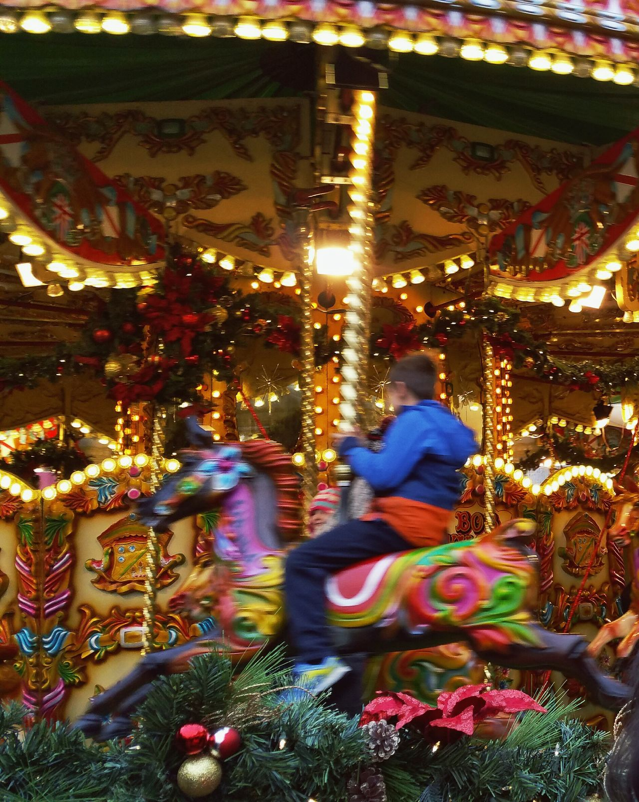 ... Speeding into Winter ... Illuminated Multi Colored Real People Outdoors People Architecture Merry Go Round Carousel Carousel Horse Childhood Children Child Kid Christmas Decoration Christmas Birmingham Christmas Market Decoration Decorations Lights Motion Blur Fun