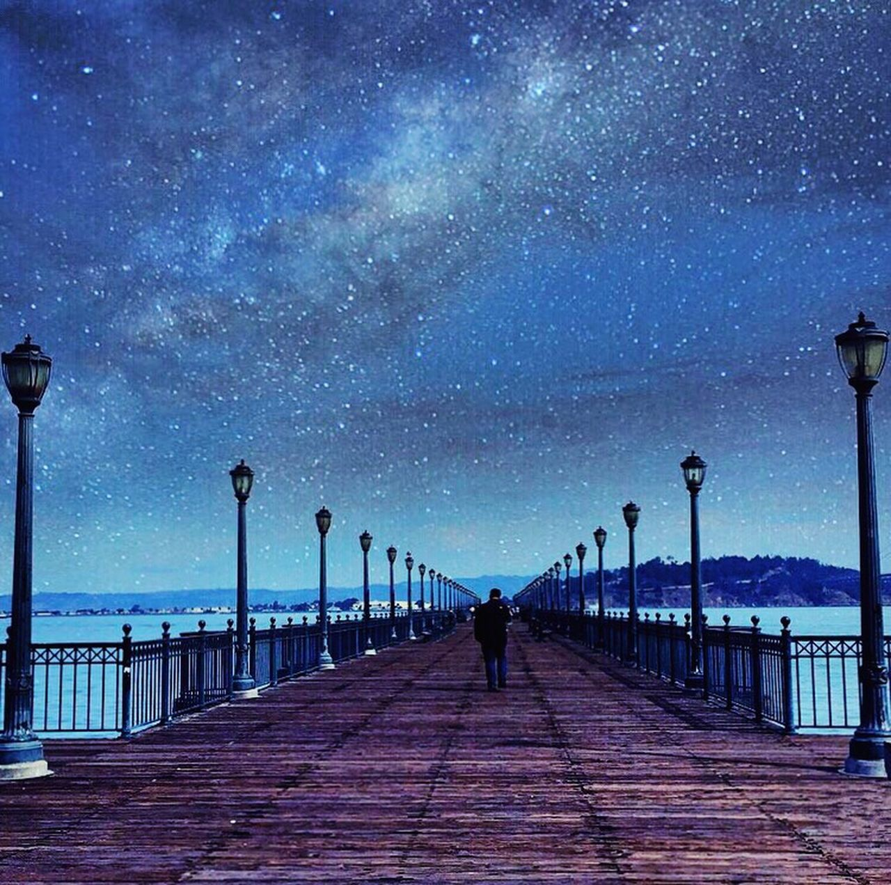USA California Sanfrancisco San Francisco SanFranciscoBay Pier39 Night Star - Space Milky Way Astronomy Sky Pier Summer Sea Galaxy Space Long Boardwalk Beauty In Nature People Nature Outdoors IPhoneography Iphoneonly Streetphotography