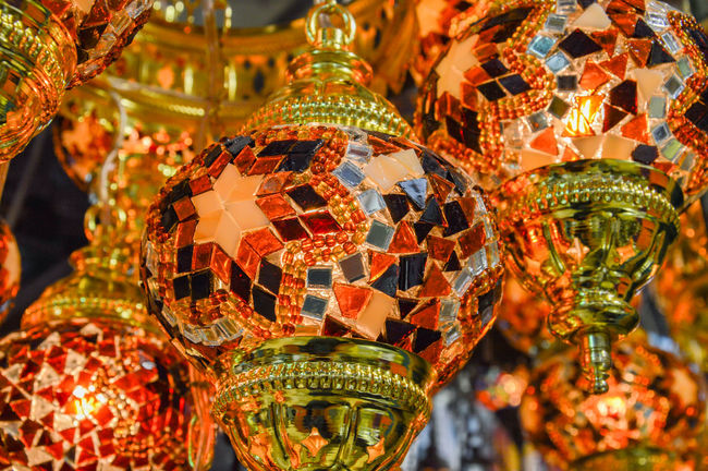 Christmas Ornament Close-up Decor Decoration Focus On Foreground Hanging Illuminated Lantern Lighting Equipment Man Made Object Multi Colored No People Ornament Repetition