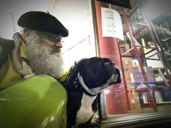 The exotic old english Bulldozer, sorry, Bulldog and a old german Man (...that's me.) / Der alte Mann und der Hund Night Outdoor One Dog Man & Dog One Person Only Men Men Real People Adult